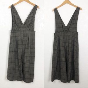 FREE PEOPLE Plaid Tank Shirt Dress Brown 6